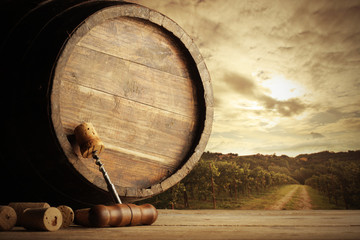 Vineyard and barrel