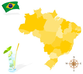 Map of Brazil, regions and states