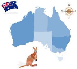 Map of Australia, regions and islands
