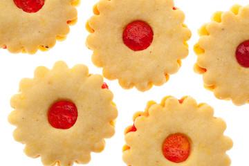 Kekse: Mehrere Spitzbuben von oben auf weißem Hintergrund