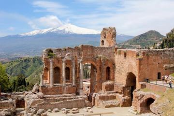 Taormina, Teatro Greco, with Etna