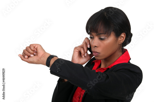Woman checking watch