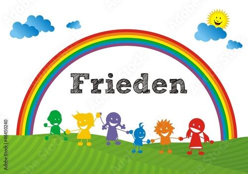 Deurstickers Regenboog Frieden - Regenbogenkinder ~ Rainbow Children
