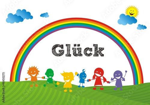Deurstickers Regenboog Glück - Regenbogenkinder ~ Rainbow Children