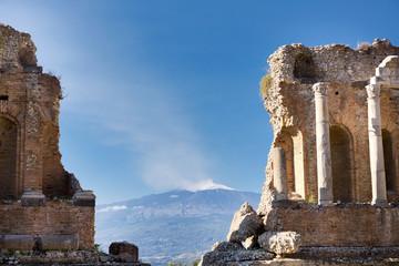 Ancient greek roman theater in Taormina - Sicily