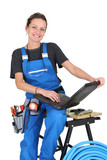 plumber woman with laptop
