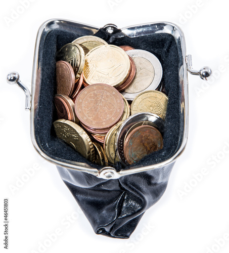 Wallet with Coins isolated on white