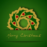 Christmas gold garland applique on green background