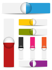 Glossy web banners with colored bars.