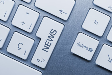 News keyboard key. Blue