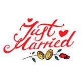 Just Married - wedding golden ring and red rose flower