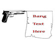 hand gun with bang   flag with banner ribbonvector illustration