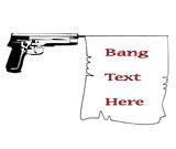 hand gun with bang   flag with banner ribbonvector illustration