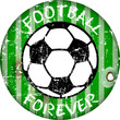 "Vintage enamel ""football forever"" sign, grungy vector illustrati"
