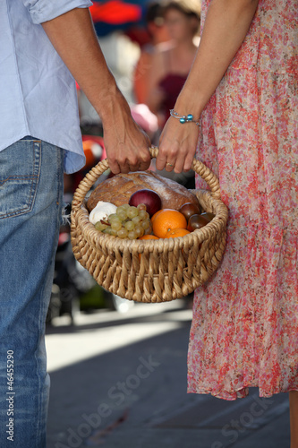Couple shopping at local market