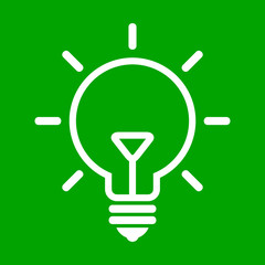 Vector illustration of bulb on green background