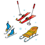 Skis Skates Sledge - winter sports and activity