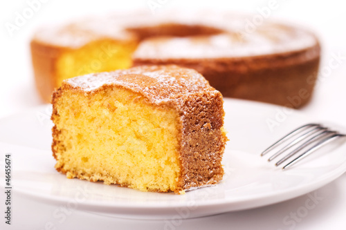 piece of cake with icing sugar