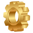 Vector 3d illustration of golden cog wheel