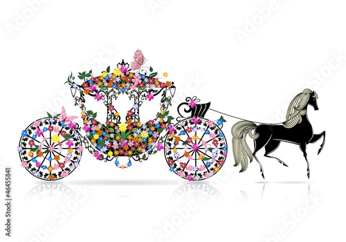 Foto op Canvas Bloemen vrouw vintage floral carriage
