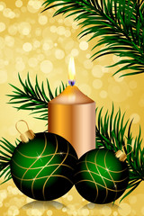 Vector gold and green christmas background