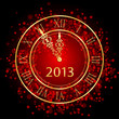 Vector illustration of red and gold New Year clock