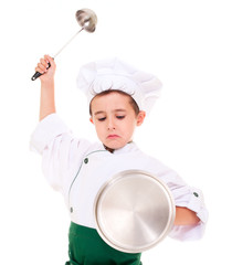 Little angry boy cook play knight with kitchen utensil