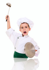 Little angry boy cook threaten with kitchen utensil