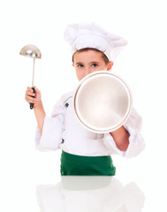 Little boy cook threaten with kitchen utensil