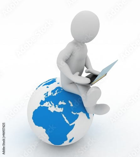 3d people - person with a laptop and globe.