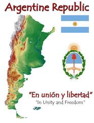 Argentina national emblem map symbol motto
