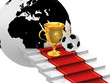 Cups with soccer ball on the ladders with red carpet