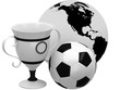 Cups with soccer ball and Earth