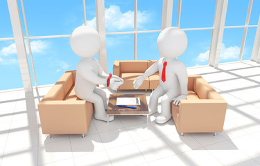 3d human with his hands tied signing a contract