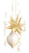 Beautiful gold and white Christmas baubles