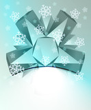blue triangle symmetry with falling snow card vector template poster