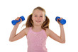 Fitness Girl The teenager is working out with dumb-bells