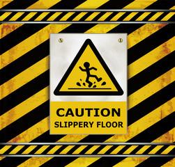 Sign caution blackboard caution slippery floor