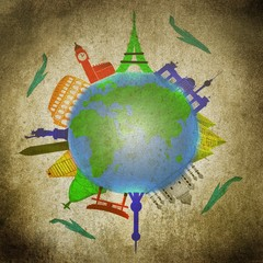 Reisen - Ilustration mit Globus