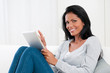 Young woman with modern tablet