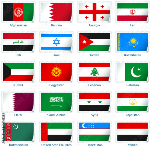 Sticker flags Western Asia