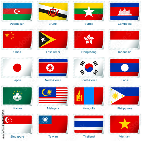 Sticker flags Eastern Asia