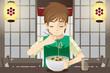 Boy eating noodle