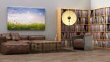 Rustikales Loft mit Vinyl Plattenregalen und Wandbild 3D