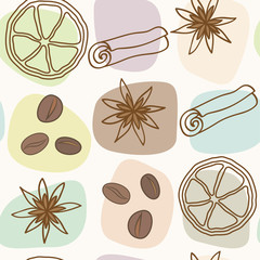 spice and coffee seamless pattern vector eps8