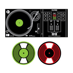 DJ Turntable and Vinyl Records disco music party