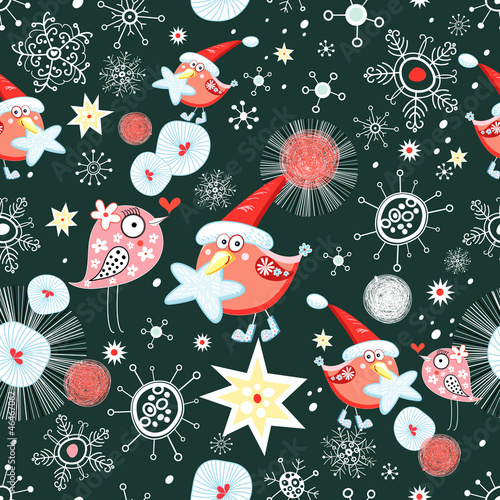Christmas texture with birds