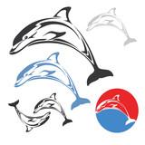 Dolphin jump - vector illustration