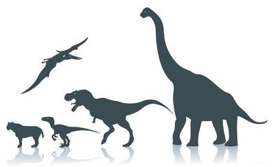 Dinosaur silhouettes - vector illustration