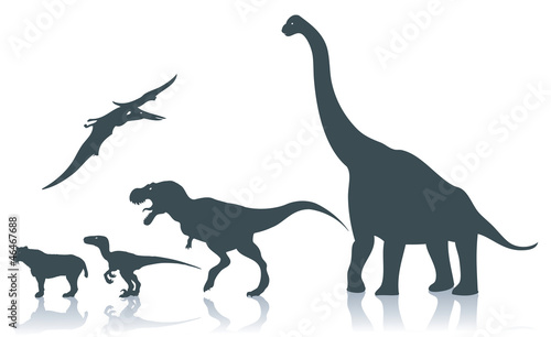 Dinosaur silhouettes - vector illustration